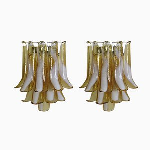 Vintage Italian Murano Glass and Metal Sconces, Set of 2