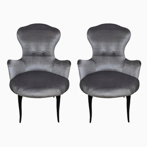 Mid-Century Italian Velvet Easy Chairs, 1950s, Set of 2