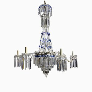 Antique English Cut Glass Waterfall Chandelier, 1870s