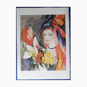 Lithographie Jeune Fille Au Bouquet par Marie Laurencin, 1920s