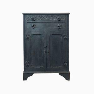 Blau-grauer Vintage Holzschrank, 1930er