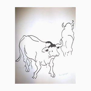 Cows Drawing by Pierre Ambrogiani, 1960s