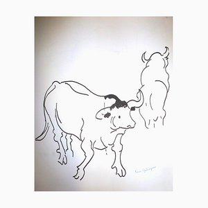 Kühe Zeichnung von Pierre Ambrogiani, 1960er