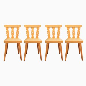 Mid-Century Swedish Pine Dining Chairs, 1960s, Set of 4