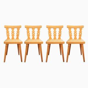 Schwedische Mid-Century Esszimmerstühle aus Kiefernholz, 1960er, 4er Set