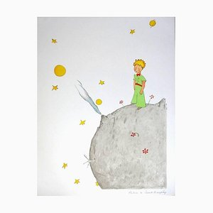Lithographie The Little Prince On the Planet par Antoine de Saint Exupéry, 1990s