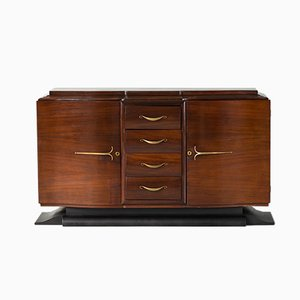 Mid-Century Art Deco French Walnut Buffet, 1940s