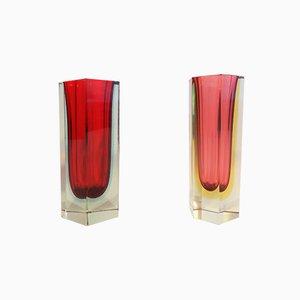 Italian Sommerso Murano Glass Vases by Alessandro Mandruzzato, 1970s, Set of 2