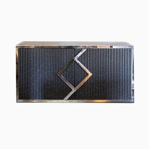 Anrichte aus verchromtem Messing & schwarzem Stahl in Bambus-Optik, 1970er