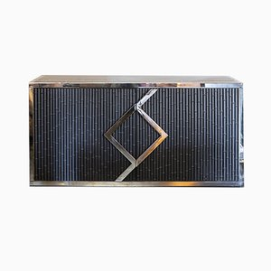 Chromed Brass and Black Steel Faux Bamboo Credenza , 1970s