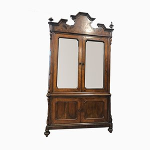 Antique Glass & Walnut Display Cabinet