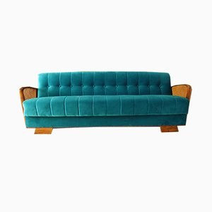 Vintage Art Deco German Wood and Velour Sofa, 1930s