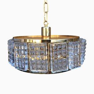Mid-Century Deckenlampe aus Messing & Glas von Carl Fagerlund für Orrefors, 1960er