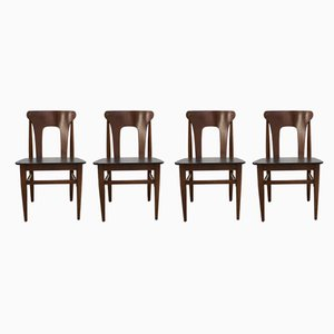 Mid-Century Teak & Vinyl Dining Chairs from Elliots of Newbury, 1960s, Set of 4