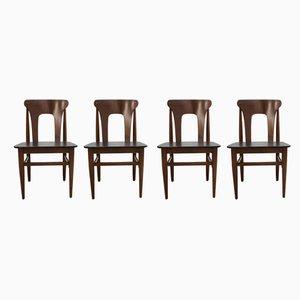 Mid-Century Teak & Vinyl Dining Chairs from Elliots of Newbury, 1960s, Set of 4