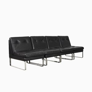 Minimalist German Leather & Chrome Modular Sofa from Klöber, 1980s