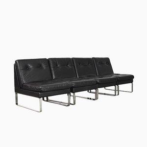 Minimalistisches Deutsches Modulares Sofa aus Leder & Chrom von Klöber, 1980er