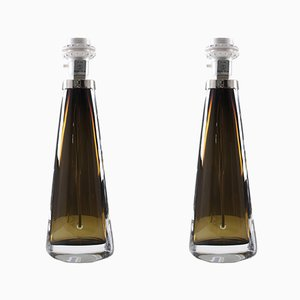 Mid-Century Swedish Glass Table Lamps by Carl Fagerlund for Orrefors, 1960s, Set of 2