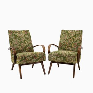 Beech and Bentwood Lounge Chairs from TON, 1960s, Set of 2