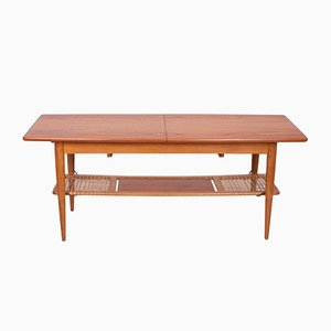 Mid-Century Danish Teak & Raffia Coffee Table, 1960s