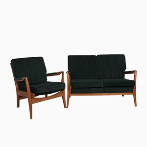 Green Sofa and Armchair Set from Cintique, 1960s