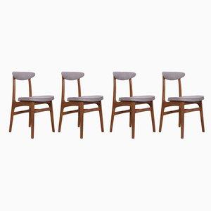 200-190 Esszimmerstühle mit Gestell aus Buche & Stoffbezug von Rajmund Teofil Hałas, 1960er, 4er Set