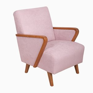 Mid-Century Art Deco Beech and Pink Fabric Armchair, 1950s