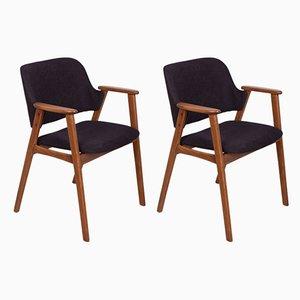 Dänische Armlehnstühle mit schwarzem Bezug, 1960er, 2er Set