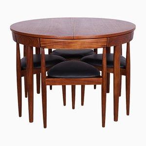 Tavolo da pranzo Mid-Century in teak e quattro sedie di Hans Olsen per Frem Røjle, anni '50