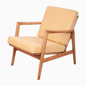 Beech and Fabric Model 300-139 Armchair from Swarzędzka Furniture Factory, 1960s