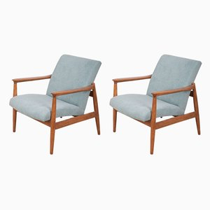 Beech and Fabric GFM-64 VAR Armchairs by Edmund Homa for Gościcińskie Fabryki Mebli, 1970s, Set of 2