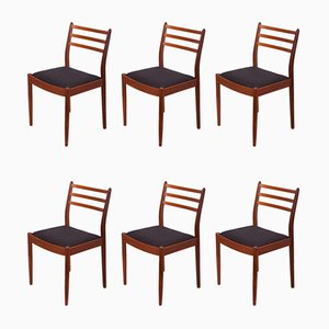 Esszimmerstühle mit Gestell aus Teak & Stoffbezug von Victor Wilkins für G-Plan, 1960er, 6er Set