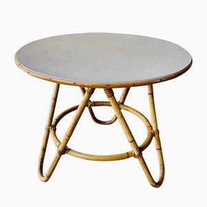 Tavolino da caffè Mid-Century in vimini di Maison KoK, anni '60