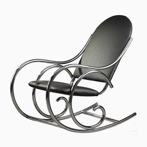 Französischer Schaukelstuhl aus Kunstleder & Metall, 1950er