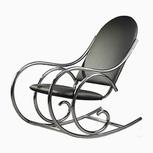 French Leatherette and Metal Rocking Chair, 1950s