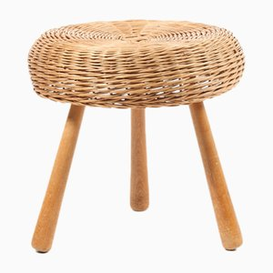 Mid-Century Danish Beech and Cane Stool, 1960s