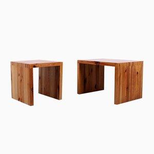 Tables de Chevet en Pin Massif par Ate van Apeldoorn pour Houtwerk Hattem, 1960s, Set de 2