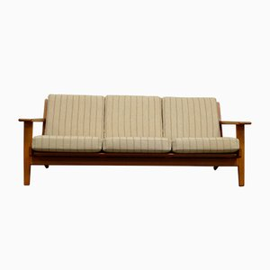 Dänisches Modell GE 290 3-Sitzer Sofa mit Gestell aus Teak & Stoffbezug von Hans J. Wegner für Getama, 1960er