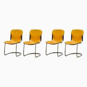Italienische Mid-Century Esszimmerstühle mit verchromtem Gestell & Ledersitz von Willy Rizzo für Cidue, 1970er, 4er Set