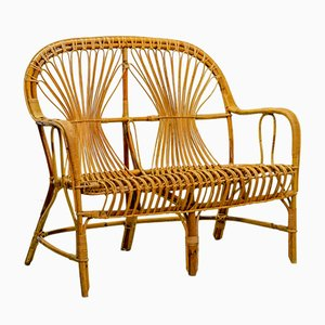 Mid-Century Rattan 2-Seater Bench, 1950s