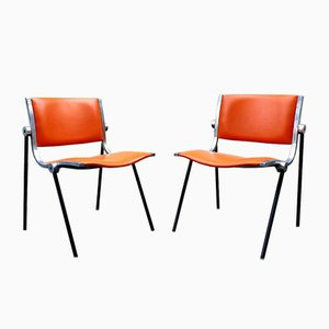 Italian Aluminum and Vinyl Desk Chairs by Vaghi, 1962, Set of 2