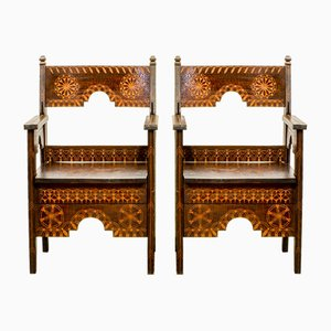 Mid-Century Middle Eastern Wooden Armchairs, 1950s, Set of 2