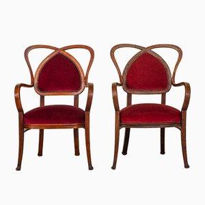 Französische Mid-Century Armlehnstühle mit rotem Samtbezug, 1950er, 2er Set
