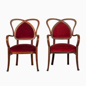 Mid-Century French Red Velvet Armchairs, 1950s, Set of 2