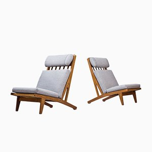Danish Modern GE-375 Lounge Chairs by Hans J. Wegner for Getama, 1960s, Set of 2