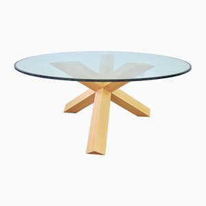 Italian Glass and Wood La Rotonda Dining Table by Mario Bellini for Cassina, 1990s