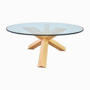 Italienischer La Rotonda Esstisch aus Glas und Holz von Mario Bellini für Cassina, 1990er