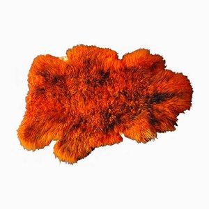 Orangefarbener Mid-Century Teppich aus Schaffell, 1960er