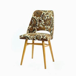 Fabric and Wood Floral Dining Chair from Drevotvar, 1960s