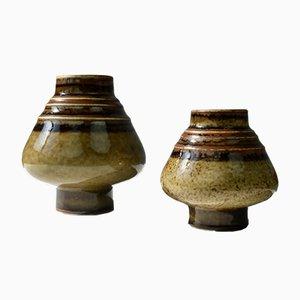 Moderne skandinavische Bamboo Keramikvasen von Olle Alberius für Rörstrand, 1960er, 2er Set